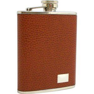 Stainless Steel / Brown Leather Flask 6 oz., FS246 by Bey Berk. $37.50