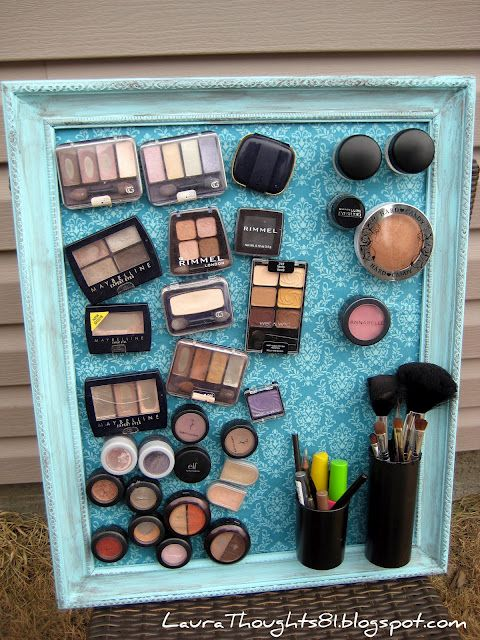 Okay girls, here is something to definitely try out. Hit up your local dollar store and purchase a cookie sheet. Decorate it with some snazzy scrapbook paper. Next, go to the craft store and get some magnetic strips. cut and glue pieces of magnets to the back of your makeup containers and viola! instant vertical makeup storage. No more bins taking up space on the vanity/desk.