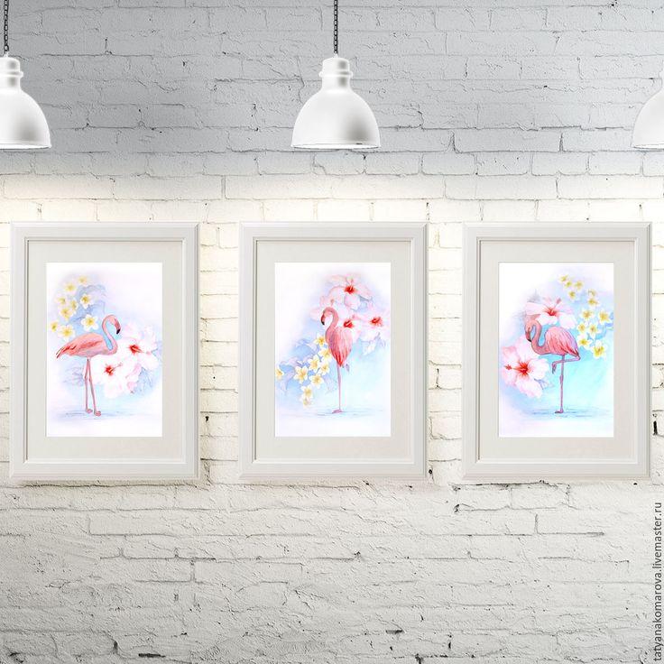 """Купить Серия интерьерных картин """"Фламинго"""" - комбинированный, голубой, розовый, белый, акварель, акварельная картина"""