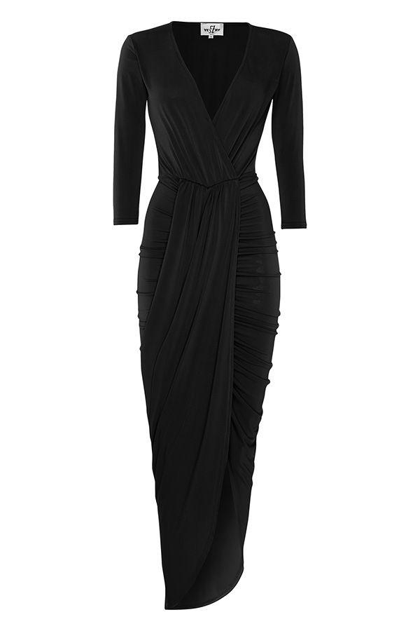Plunge Front Drape Midi Dress