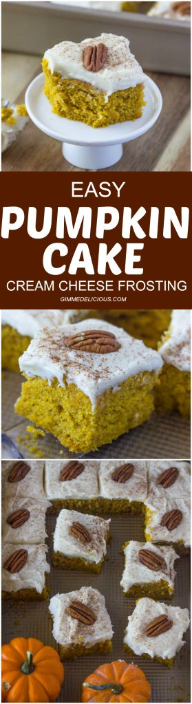 Easy Pumpkin Cake with Cream Cheese Frosting #spice #fallrecipe #bars