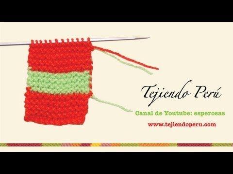 Como cambiar de lana al tejer en dos agujas con 2 colores