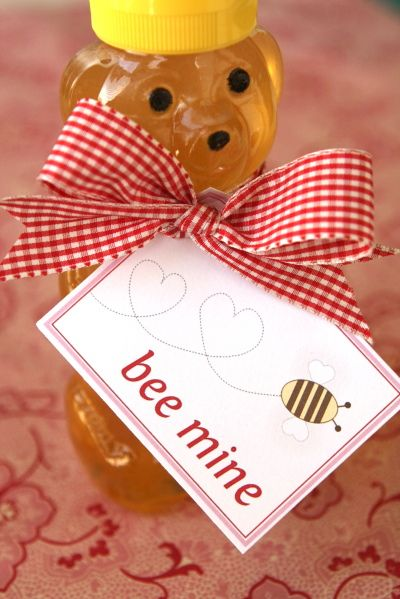 """Valentine """"Bee Mine""""  ... for my visiting teachers.  Love that it's useful, a pantry staple.: Valentines Ideas, Teacher Gifts, Bees Mine, Gifts Ideas, Valentines Day, Valentines Gifts, Diy Gifts, Honey Bears, Valentinesday"""