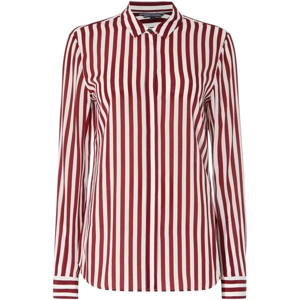 Tommy Hilfiger Flos Blouse ($215) ❤ liked on Polyvore featuring tops, blouses, red, women, long sleeve silk shirt, tommy hilfiger shirts, silk blouses, longsleeve shirt and red silk blouse