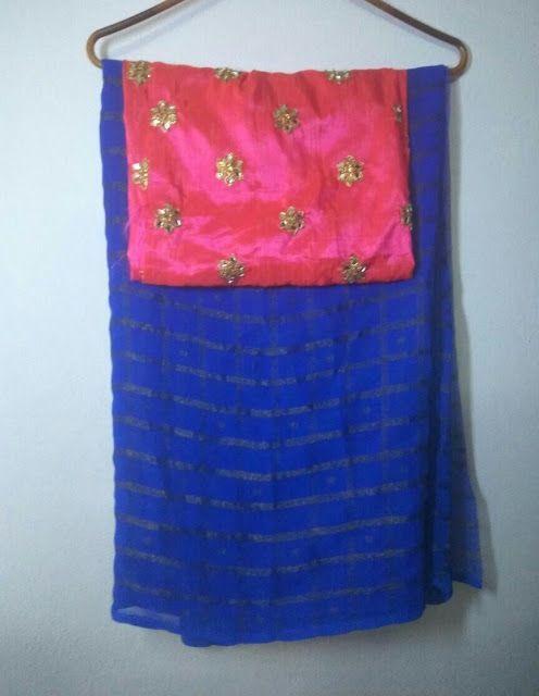 Pure georgette Saree With Designer Blouse | Buy Online georgette Sarees | Elegant Fashion Wear - blouses, peasant, sari, collar, back, formal blouse *ad