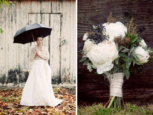 LOVE an umbrella and a cardigan over a wedding gown via Laura and Ryan on Once Wed.