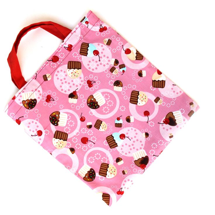 Kids Bags - Child Bag - Tote Bags for Kids - Girls Bags - Pink Red Lined Bag - Cupcake Bag - Handmade Kids Bags  - Made in USA - Gift by illubyludy on Etsy