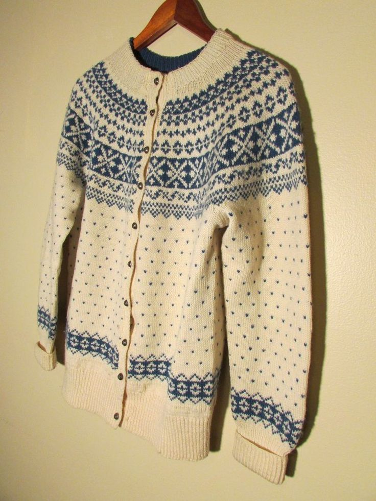 Vtg FROM NORWAY! HAND KNIT White/Blue WOOL NORWEGIAN SWEATER Cardigan SZ M/L Ski #Handmade