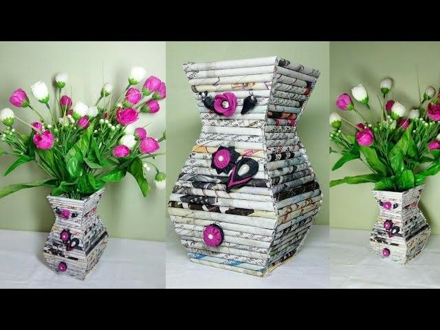 How To Make Flower Vase With Newspaper Ll Diy Home Decor Ll