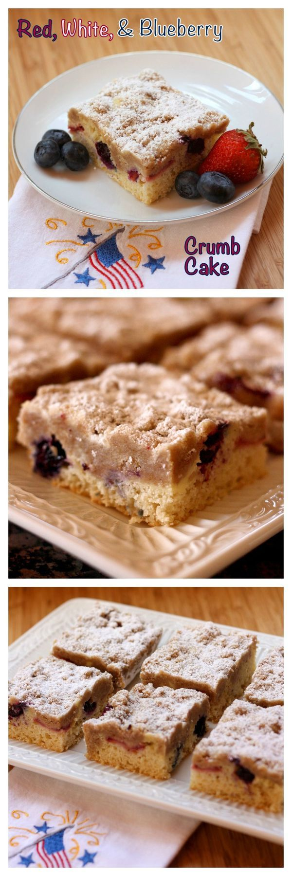 Red, White and Blueberry Crumb Cake - New York-style coffee cake filled with a berry and cheesecake filling. It's a fabulous addition to any breakfast or brunch brunch menu! | cupcakesandkalechips.com