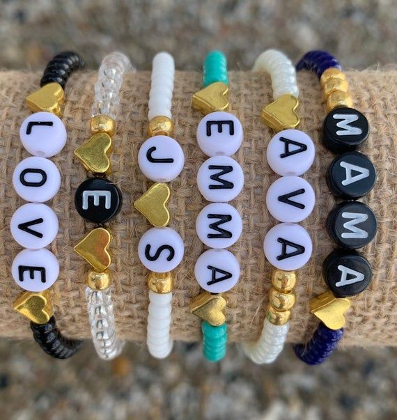 Personalized Beaded Stretch Bracelet-letter bead bracelet-Opaque with Gold Hearts-Stacking Bracelets