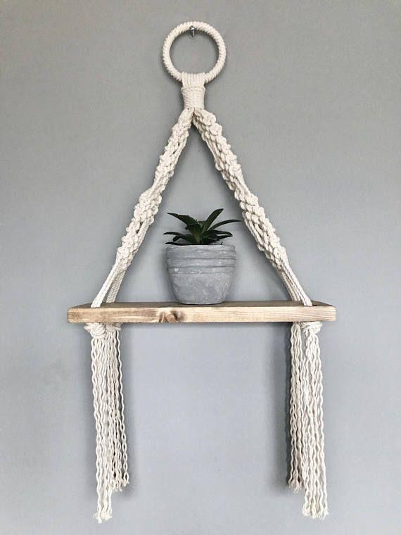 Macrame Hanging Shelf // Wooden Hanging Shelf // Boho Style // Macrame Decor // Nautical Decor // Be