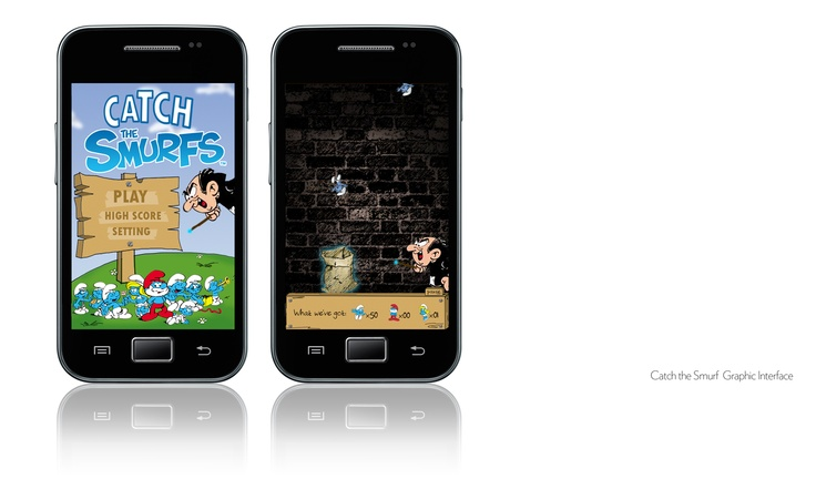 Catch the Smurf mobile game. Helping my friend to design the interface.