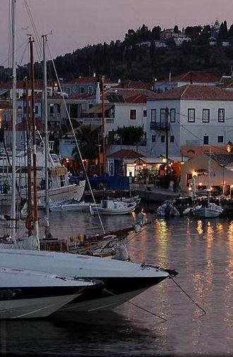 Old Harbour of Spetses Island, Saronic Gulf, Greece