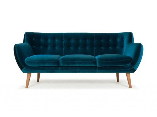 Anne, 3-seater sofa, Velour Petro, Smoked Oak Legs