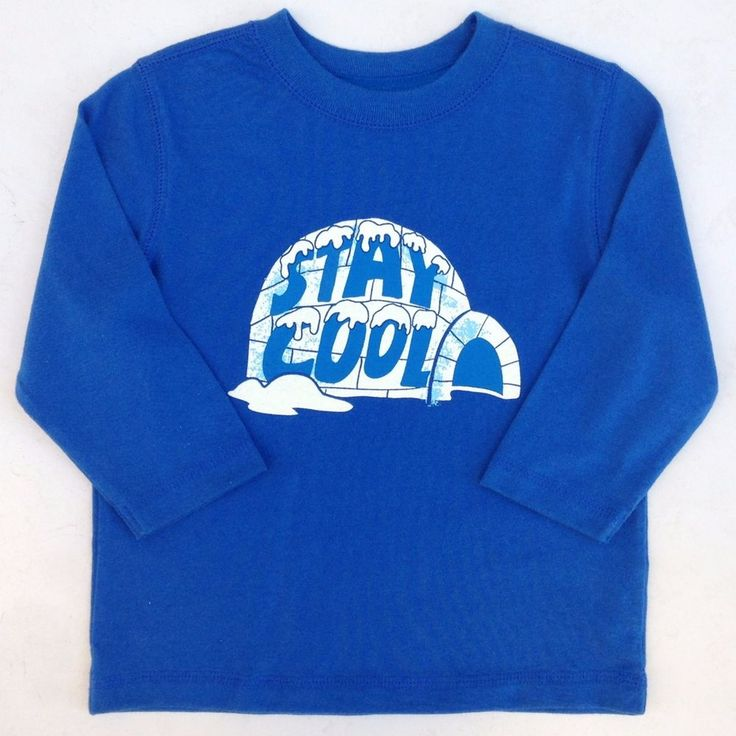"""Baby Gap Outlet Blue Igloo ' Stay Cool """" Long Sleeve Shirt Sz 12-18 Months NWT #BabyGapOutlet #DressyEveryday"""