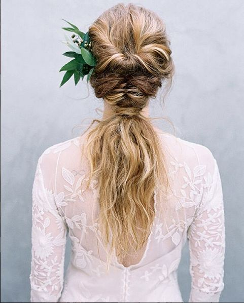 Low twisted ponytail hairstyle. Instagram/@isaidfinally #wedding #hair #boho