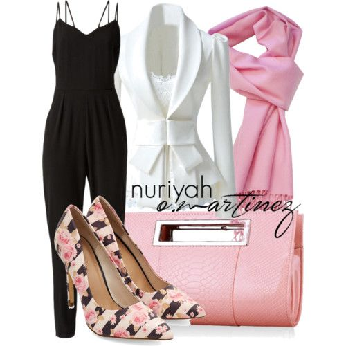 Hijab Outfit by Nuriyah O. Martinez      Slim fit blazer €28-choies.com    Jump suit €35-newlook.com    High heel pumps €28-newlook.com    Crocodile handbag €31-nastydress.com    Woolen shawl €46-atstyle247.com