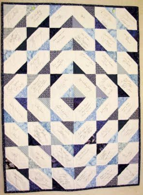 This block is again slightly more complicated and has bias edge issues.  It's a more common block for signature quilts.