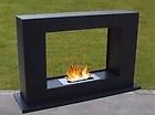 Freestanding Gel Fuel Fireplace Black Stainless Steel Smokeless Fire Heater Home
