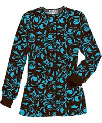 UA Edgy Bloom Coffee Bean Print Scrub Jacket, Style #  PC82EBC #fashion, #nurses, #coffeebean, #uniformadvantage