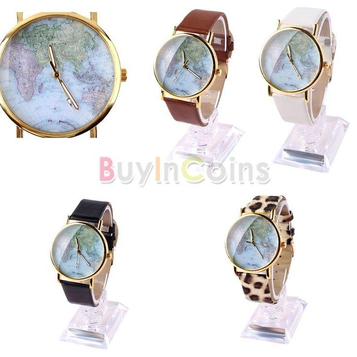 Retro World Map Watch Fashion Leather Alloy Woman Man Analog Quartz Wristwatch -- BuyinCoins.com