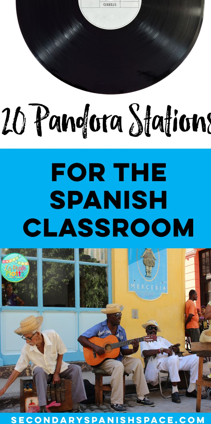 A Spanish teacher's list of 20 Pandora stations she listens to in her classes. Super helpful!