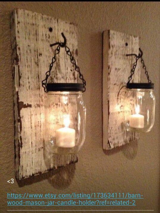 Rustic Barn Candle Lantern | Barn-wood mason jar candle holder via etsy