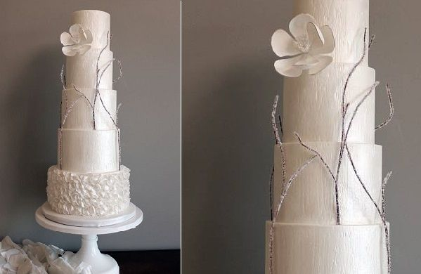 Woodgrain winter wedding cake by Shannon Bond Cake Design