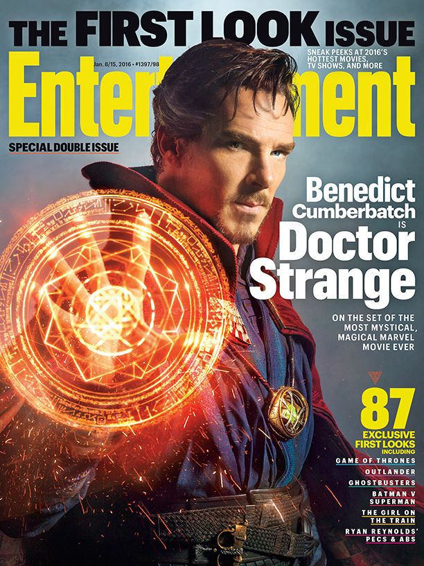 This week's First Look issue of Entertainment Weekly offers a very early peek at Benedict Cumberbatch in Marvel's new superhero film, Doctor Strange (out Nov. 4). How early? Well, principal photography on the film — which costars Tilda Swinton, Rachel McAdams, Chiwetel Ejiofor, and Mads Mikkelsen — only began in November, and director Scott Derrickson won't wrap the movie until March.