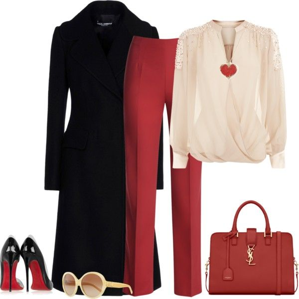 outfit 1196 by natalyag on Polyvore featuring polyvore, fashion, style, Dolce&Gabbana, NIC+ZOE, Christian Louboutin, Yves Saint Laurent and Tory Burch