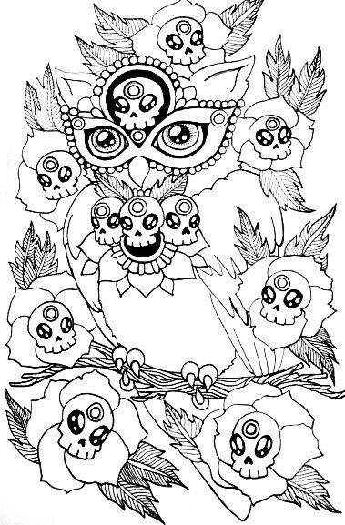 251 best Sugar Skulls + Day of the Dead Coloring Pages for Adults ...
