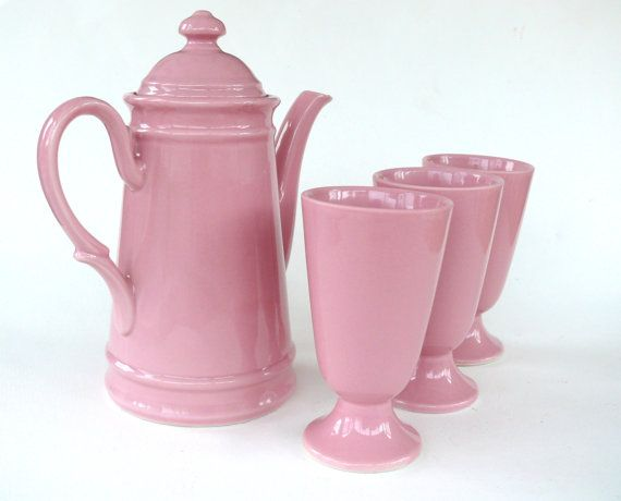 Rose Pink Coffee Pot and 3 French Coffee Cups, 3 Pink Masagrans, Vintage French Ceramic Coffee Jug, French Pottery