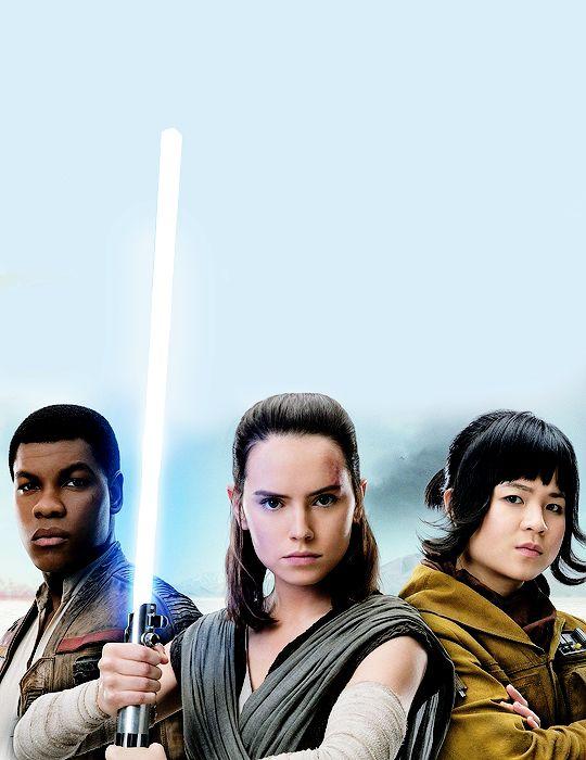 John Boyega, Daisy Ridley, and Kelly Marie Tran as Finn, Rey, and Rose Tico