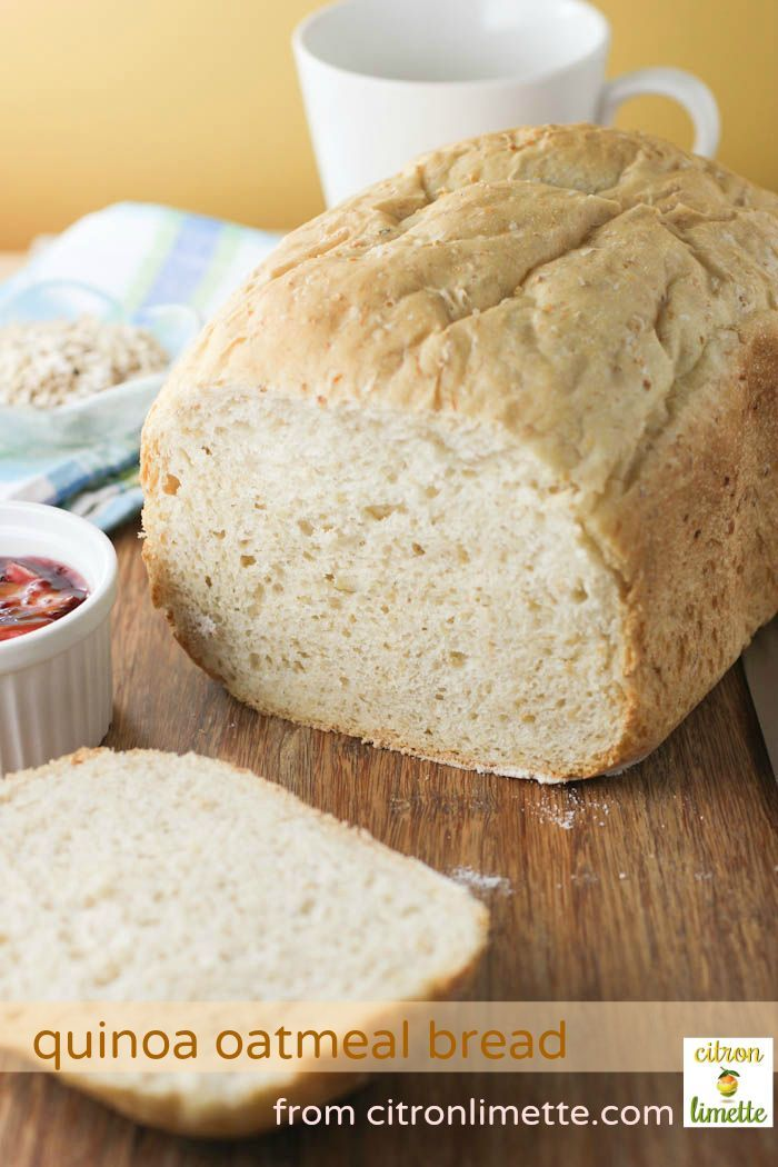 Protein Powered Quinoa Oatmeal Bread (bread machine recipe)  1 cup cooked quinoa OR ½ cup quinoa flakes OR cook as below     ⅓ cup uncooked quinoa      ⅔ cup water for cooking quinoa grains       1 cup buttermilk     1 teaspoon salt     1 tablespoon honey     4 tablespoons butter     ½ cup quick oats     ½ cup whole wheat flour     1½ cups bread flour     1½ teaspoon yeast