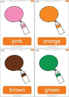 "Color flashcards for the Super Simple Learning song ""I See Something Pink."" #preK #Kindergarten #ESL"
