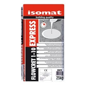 FLOWCRET 1-10 EXPRESS: Fast-setting, self-leveling, polymer modified cementitious screed by ISOMAT. Fast-setting, self leveling, polymer-modified cementitious screed, used for smoothing and leveling concrete or mortar floors, before laying finishing materials like ceramic tiles, carpets, parquet, vinyl tiles etc. It can be used in a thickness of 1-10mm. Ideal for quick repairs, as it can be walkable after 3 hours. Also, it can be covered after 24 hours.