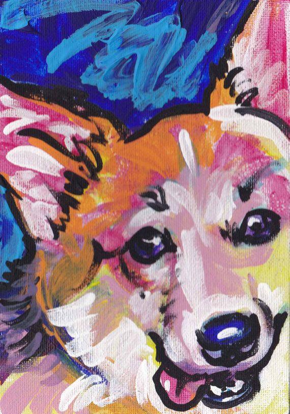 Pembroke Welsh Corgi art print pop dog art bright by BentNotBroken, $11.99