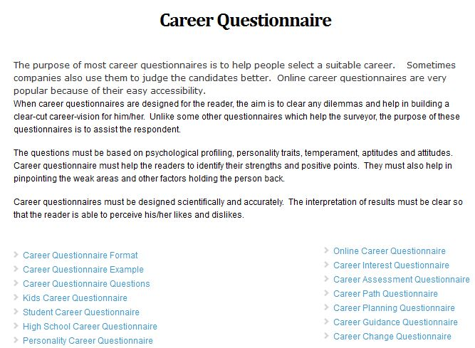 12 Best Sample Questionnaires Images On Pinterest | Job Interviews