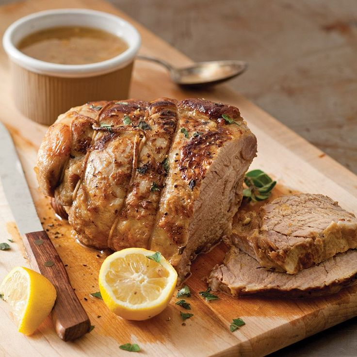 An overnight rest in a simple marinade infuses this pork roast with extra flavor.