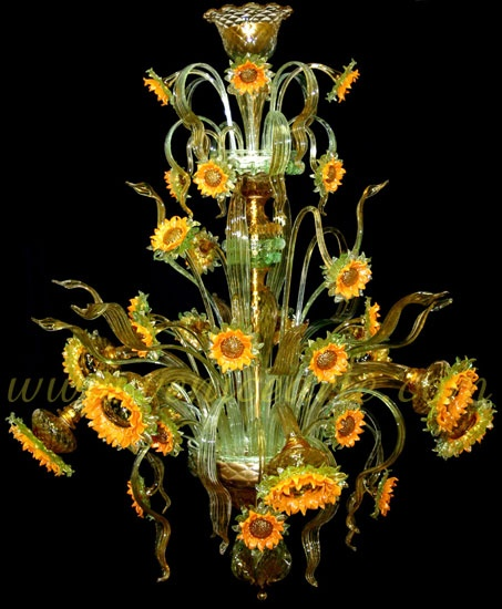Murano Glass Chandelier Buy Online: Murano Glass Sunflower Chandelier. Wow! This Would Be