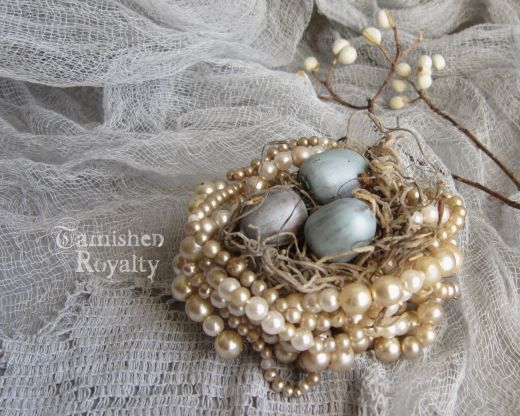 use old pearl necklaces to make a jewelled nest