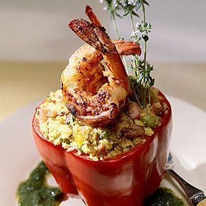 17 Fall Farmer's Market Recipes | Barbecue Shrimp and Cornbread-Stuffed Peppers | SouthernLiving.com