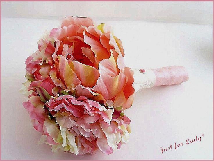 Bouquet de mariée - Fleurs tissu, Pivoines, dentelle ... - Tons Rose, écru, Corail...- Mariage-Wedding : Accessoires de maison par el-tocado-de-lea