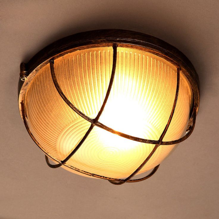 Industrial Ribbed Glass Shade 1 Light Flush Mount