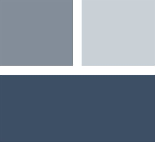 Example palette: If you want to make a statement with color in your bedroom but don't want anything too loud, consider a palette of deep navy blue with lighter shades of gray-blue. The result will be calm and cool. Clockwise from top left (all from Benjamin Moore): Mineral Alloy 1622, Silver Mist 1619 and Hudson Bay 1680.