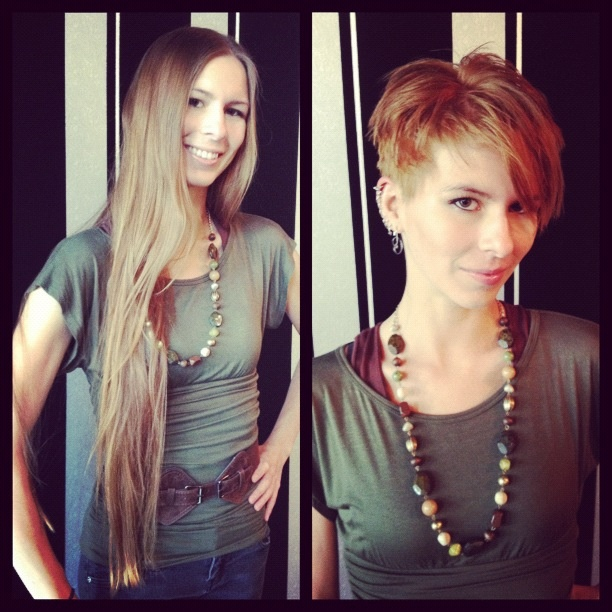 Meet Randi, first time guest of G Michael Salon who came in for the most dramatic transformation we have had to date! Talented stylist, Deane, cut off over TWO FEET of Randi's hair! Randi got an all new look, complete with a sexy pixie style cut and gorgeous copper color!  We love this look on you Randi, you have such incredible bone structure! We are thrilled that you now have a styled haircut to show it off in the best way possible! #pixiecut #shorthair  #beforeandafter…