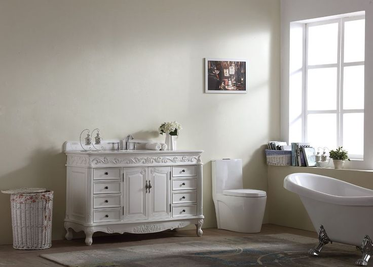 56 inch Traditional Style Bathroom Vanity w/ White Marble Top, Porcelain under #Unbranded #Traditional