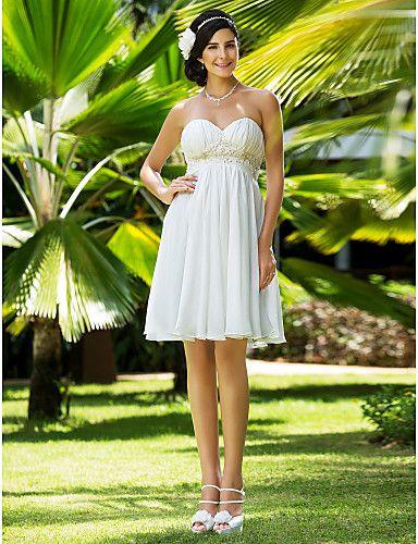A-line Sweetheart Knee-length Chiffon Wedding Dress – USD $ 79.99