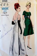1960's Vintage Vogue Evening Dress Low Back Empire SIZE 18 Sewing Pattern #5962